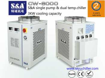 S&A chiller CW-6200 with single pump & dual temperature for fiber laser cooling